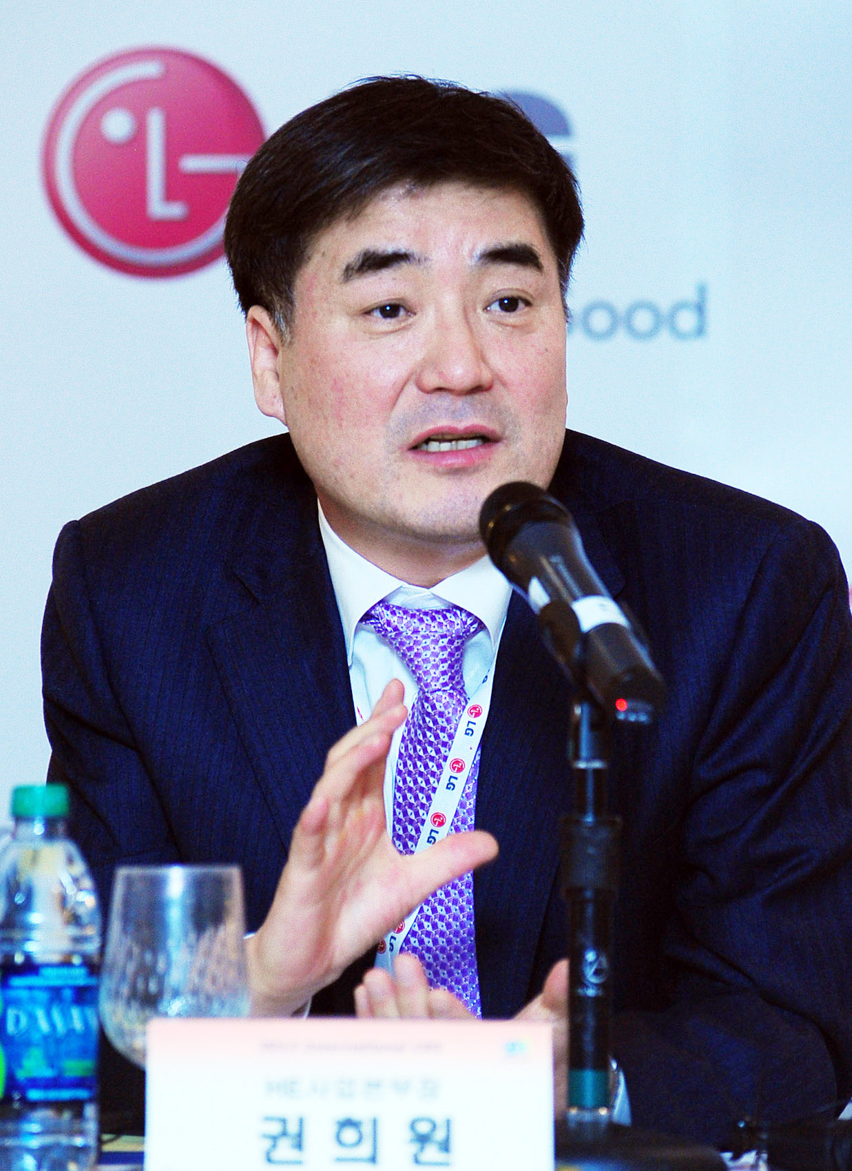 Havis Kwon, president and CEO of the LG Home Entertainment Company, speaks at a press conference held in Las Vegas