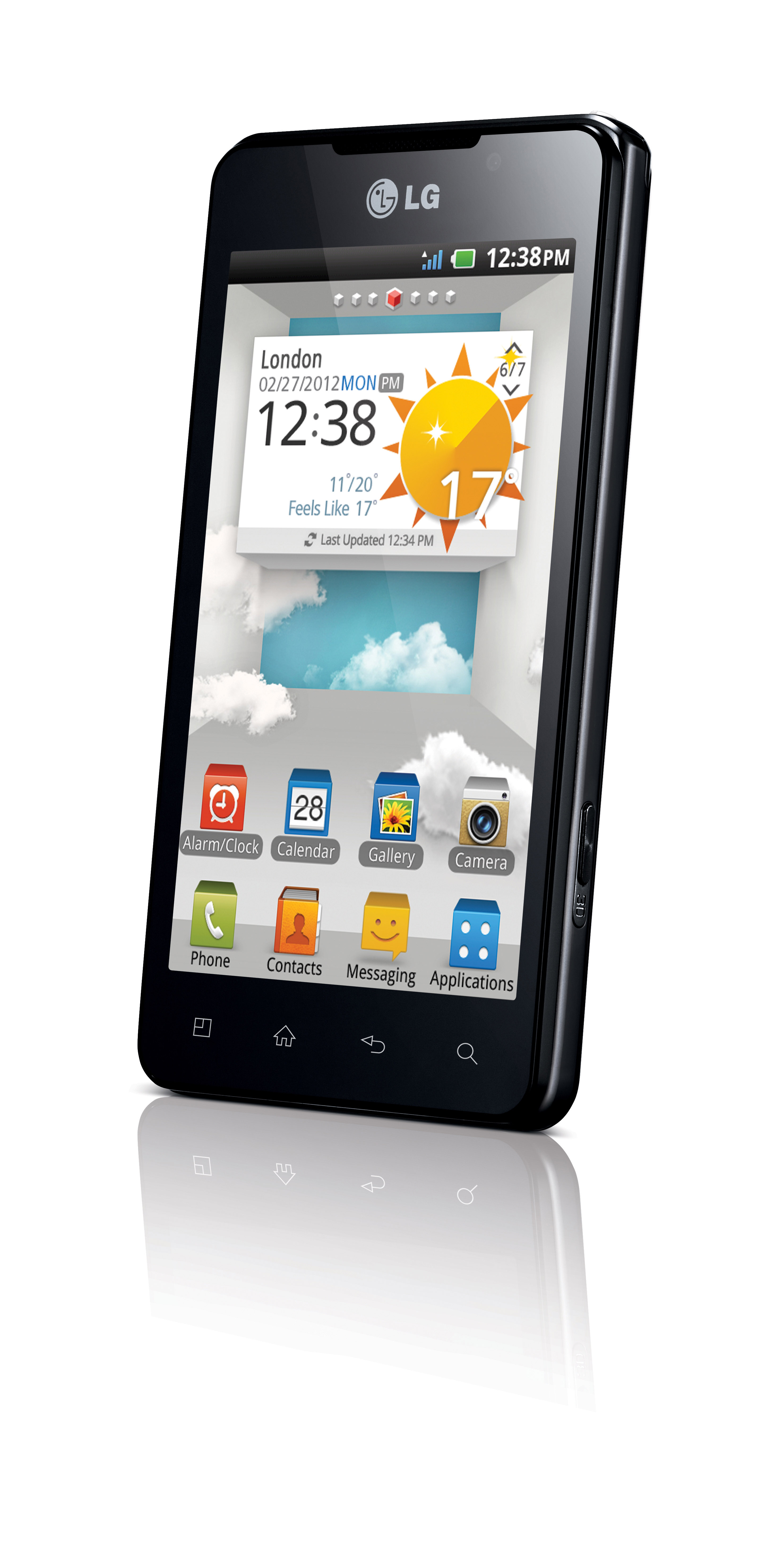 A top view of LG's Optimus 3D Max as if the phone is put on a place vertically while displaying its home screen.