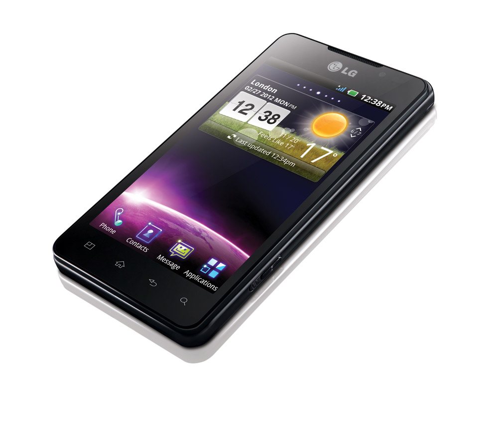 A top view of LG's Optimus 3D Max as if the phone is put on a place while displaying its home screen