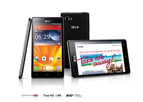 A side, vertical front, rear and 15-degree horizontal front view of the LG Optimus 4X HD above the logos of Optimus 4X HD, True HD IPS and SiO+ technology