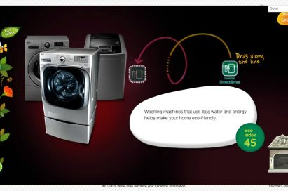 The 'core technologies selection' page of LG's Facebook campaign, 'My Eco Home'