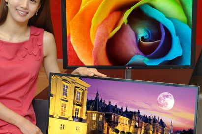 A model presenting LG premium IPS monitor E83 and E93, one behind the other