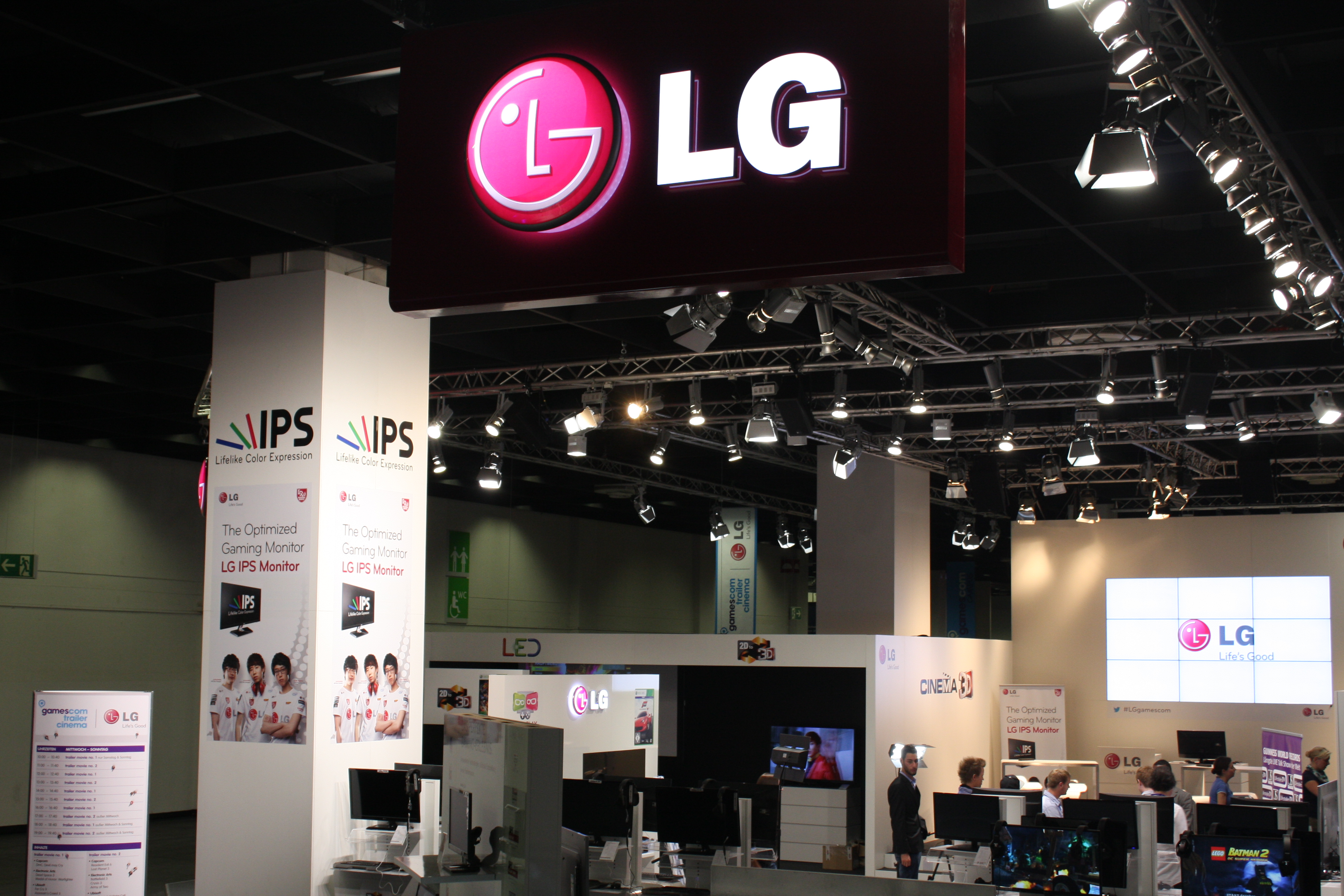 A high view of LG's booth and its many IPS monitors at GAMESCOM 2012