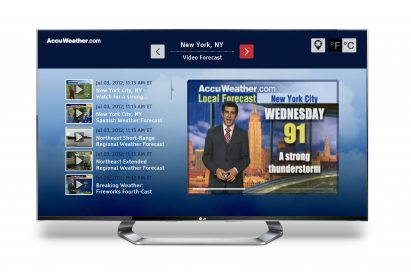 The LG Smart TV displaying the weather forecast channel