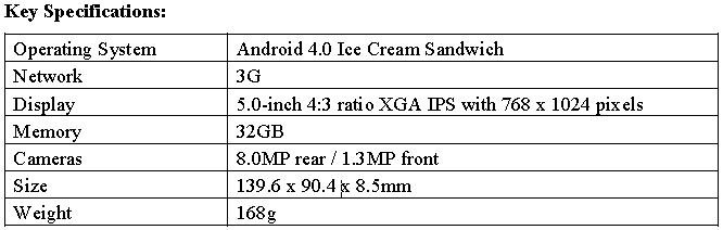 Specification table of LG Optimus Vu: