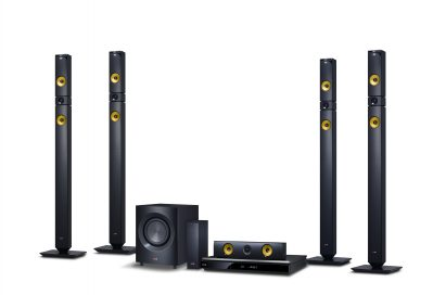A right-side view of LG 2013 audio and video lineup including BH9430PW 9.1-channel speaker system, NB4530A Sound Bar, BP730 Blu-ray player with Smart TV features, the ND8630 Dual Docking Speaker and the NP6630 Portable Speaker.