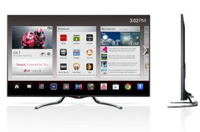 Front and side views of the LG smart TV models GA7900 and GA6400