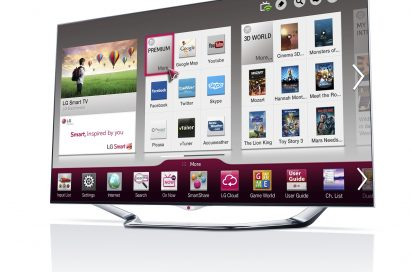 A right-side view of LG's new CINEMA 3D Smart TV displaying Smart Home screen