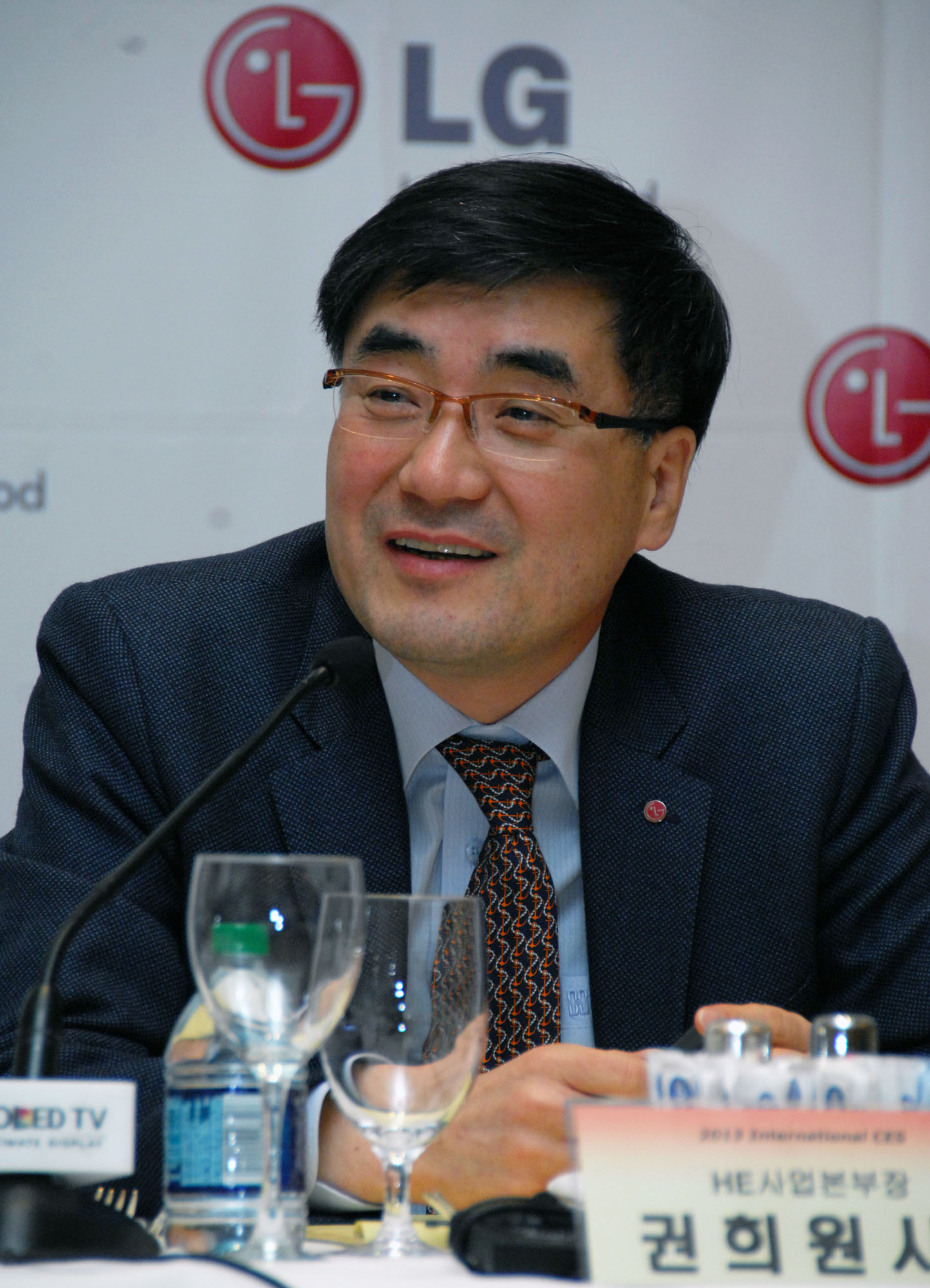 Havis Kwon, president and CEO of the LG Electronics Home Entertainment Company speaking at CES 2013