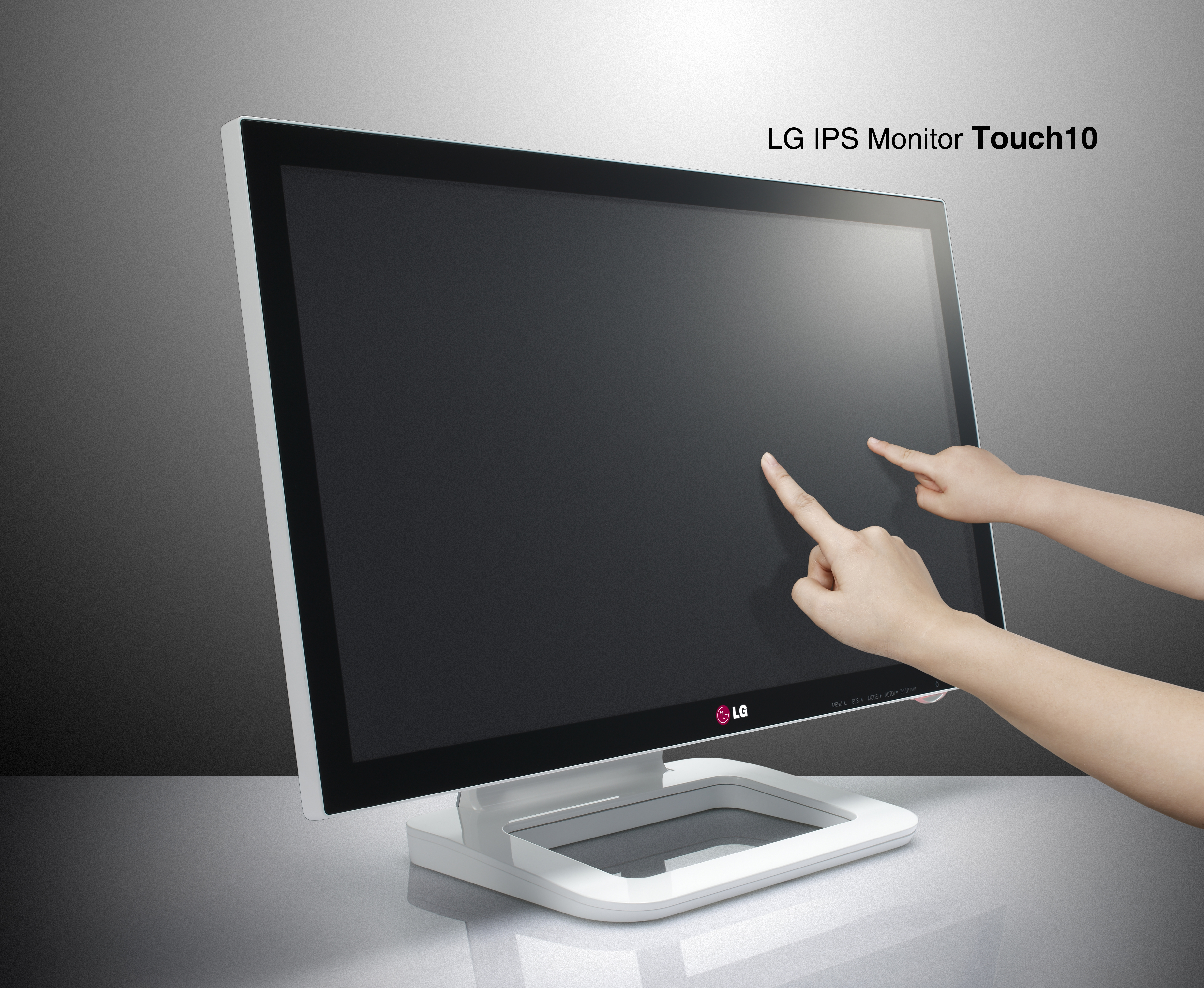 Two people touching LG IPS monitor Touch10's display with their index fingers