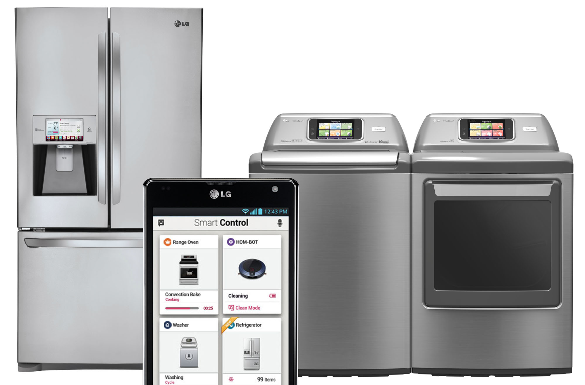 Smart phone screen showing how Smart Control app enables users to manage connected smart appliances including its refrigerator and washing machine