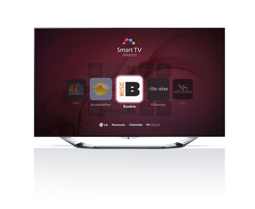 A Smart TV Alliance main page on TV with logos of LG Electronics, Panasonic, Toshiba and TP Vision