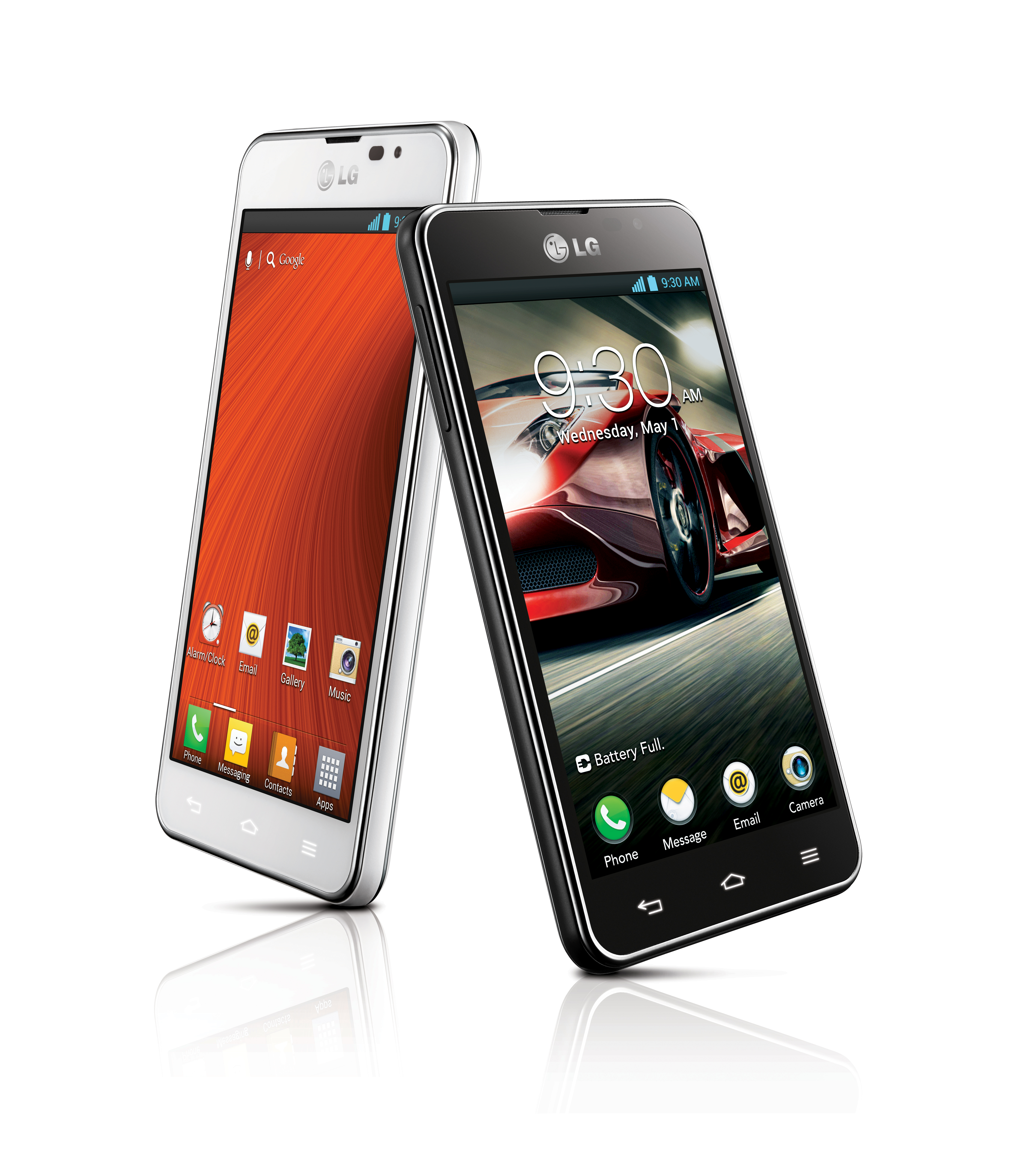Side views of the LG Optimus F7 in white and LG Optimus F5 in black.