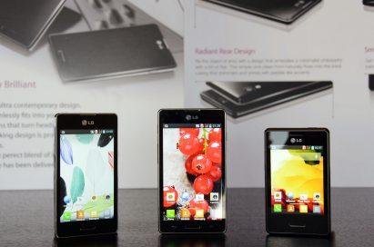 Optimus L SeriesII smartphones displayed on a table.