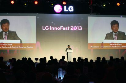 Park Se-woo, president of the South and Central America Region at LG Electronics presents LG's vision of being the number one home appliance brand by 2015 at LG InnoFest 2013