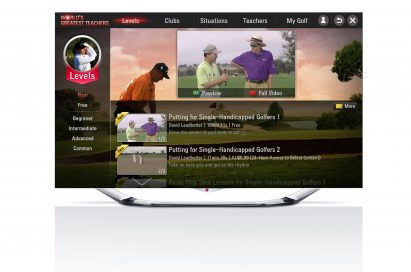 Golfing application, 'World's Greatest Teachers,' displayed on an LG CINEMA 3D Smart TV
