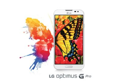A promo shot of the LG Optimus G Pro's display with a vibrant and colorful butterfly background.