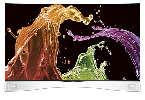 Front view of LG CURVED OLED TV