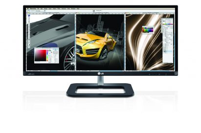 Front view of the LG IPS 21:9 UltraWide IPS monitor model 29EB73