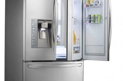 LG's three-door French-Door refrigerator with doors opened to show off its Door-in-Door feature