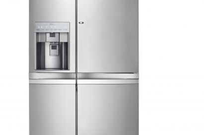 Front view of LG's side-by-side refrigerator