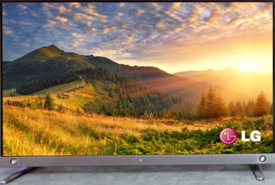 Front view of LG ULTRA HDTV model LA9650 displaying a beautiful countryside landscape