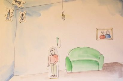 A drawing of a man discovering mosquitos in the ceiling corner of the room