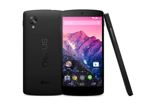 From left to right; A back view of LG Nexus 5, a front view of LG Nexus 5, a side view of LG Nexus 5