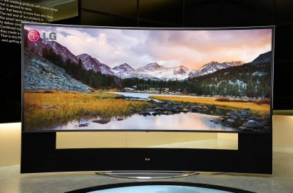 The world's first 21:9 aspect ratio CURVED ULTRA HD TV model 105UC9 by LG on display at CES 2014
