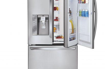 The LG three-door French-Door refrigerator with its Door-in-Door feature on the right and ice and water dispenser on the left door