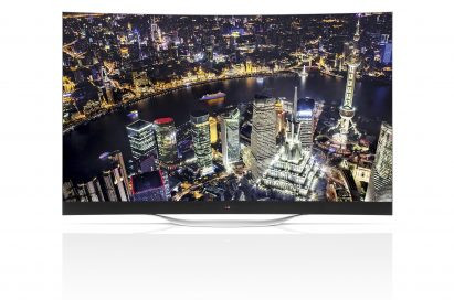 A front view of LG ULTRA HD CURVED OLED TV model 55EB9600