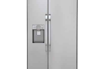 LG Studio built in refrigerator with ice and water dispenser on the left door