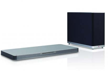 Left-side view of LG SoundPlate model LAB540 with a wireless subwoofer by its side