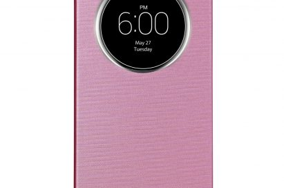 A front view of LG G3 wearing QuickCircleTM case in Indian Pink color.