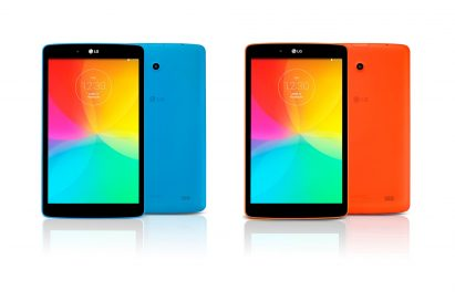 From left to right; A front view and a back view of LG G Pad 8.0 LTE in Luminous Blue color. A front view and a back view of LG G Pad 8.0 LTE in Luminous Orange color.