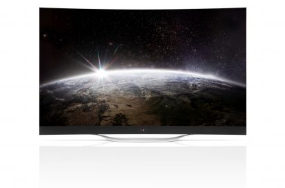 A front view of LG's 77-inch 4K OLED TV