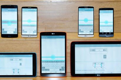 Fronts of various LG Smartphones and even tablets showing LG G3 UX's features.