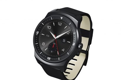 A side view of a LG G Watch R.