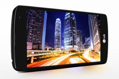A side view of the LG F60 showing a night city skyline while on its side.