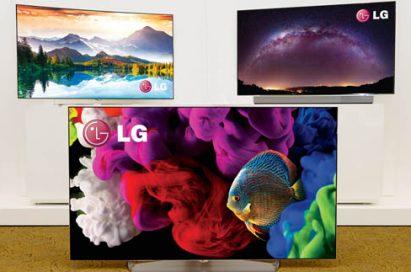 Three LG 4K OLED TVs displayed at International CES 2015