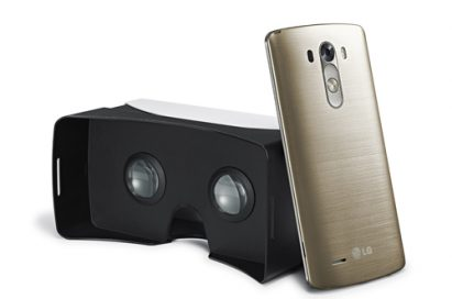 The LG G3 leaning on a compatible VR headset.