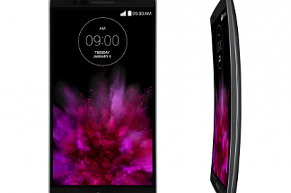 A front view of LG's G Flex2 smartphone on the left side and a side view of GFlex2 on the right side facing to the left