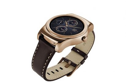 LG Watch Urbanes in gold color with the dial looking upwards