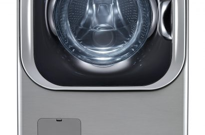 LG front-load washing machine in white color
