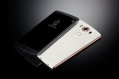 The LG V10 in Space Black lying right-side up and the same device in Luxe White upside-down