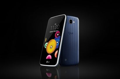 The front and back view of the LG K4 in Indigo