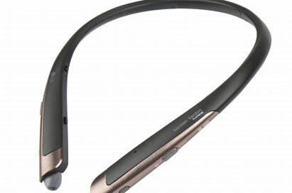 The top and side view of the LG TONE Platinum™ in Black with Gold trim
