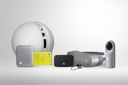Front view of the LG G5 Friends, which includes the LG Rolling Bot, LG CAM Plus, LG Hi-Fi Plus with B&O PLAY, LG 360 VR and LG 360 CAM, side-by-side
