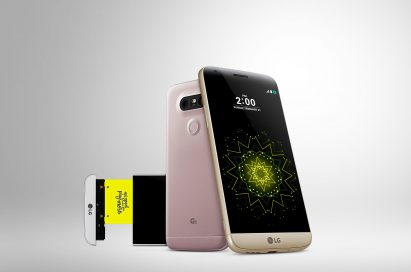 Front and rear view of the LG G5 in Gold, Pink and Silver, with the LG CAM Plus slightly pulled out from the Silver LG G5