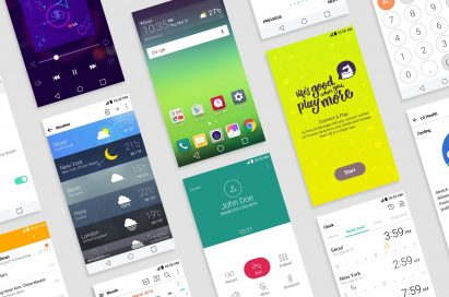 Various screens of the LG G5 showing off its new GUI